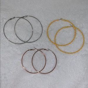 3 pairs of hoops from forever 21